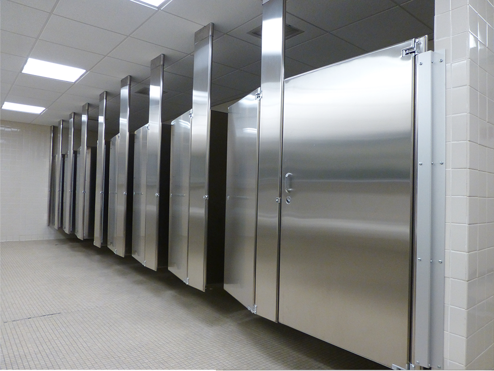 Mavi new york ceiling hung toilet partitions mavi ny - How to install bathroom partitions ...