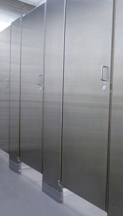Mavi new york ultimate privacy floor anchored stainless for Stainless steel bathroom partitions